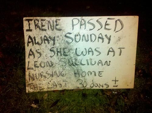 Photo of Robert's sign announcing Irene's death