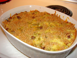 Cheesy sausage and rice bake