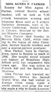 Obituary for Agnes Parker