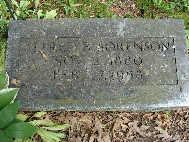 Grave marker for Alfred Bernhard Sorenson