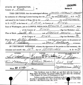 Marriage certificate for Othelia Hallin and Kenneth F. Wallace