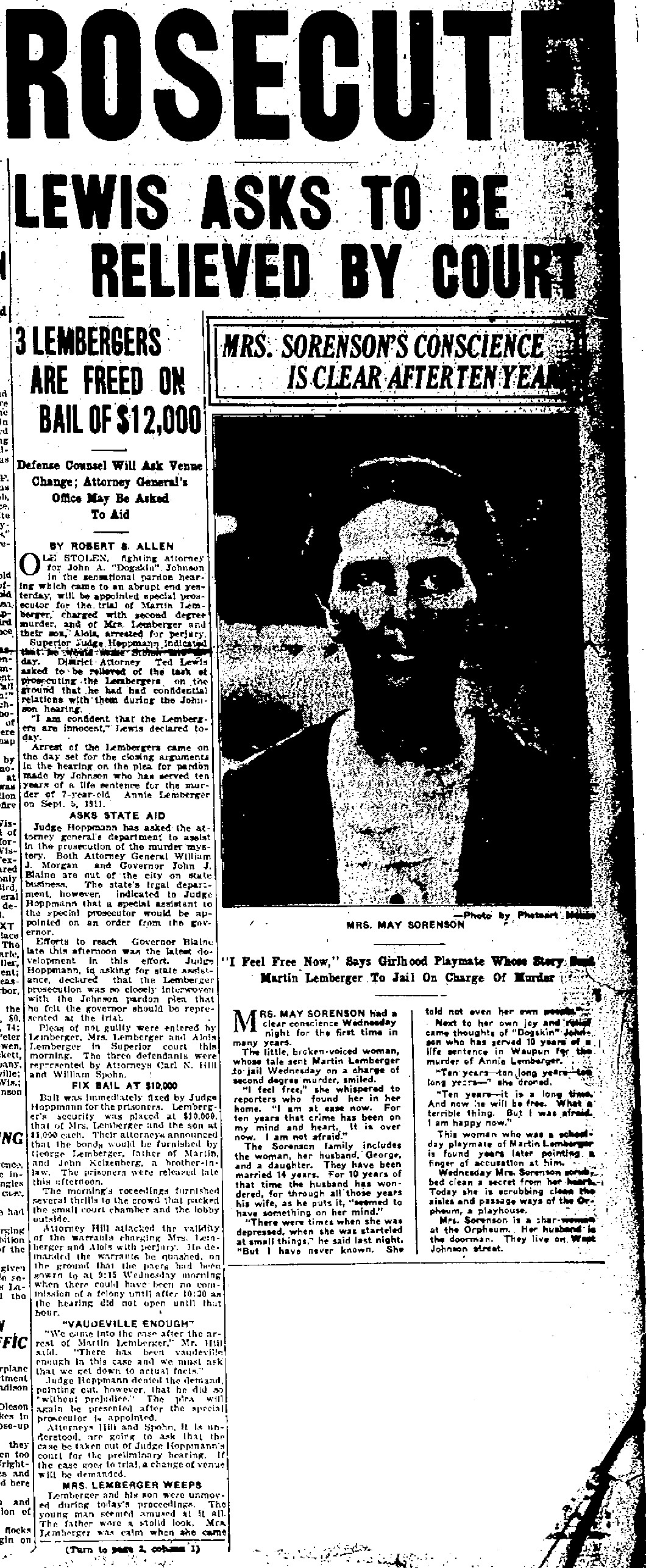 Article on Mae Sorenson testimony in the Lemberger case, text not transcribed