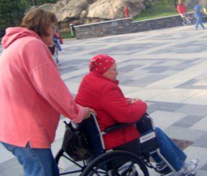 Pushing a wheelchair