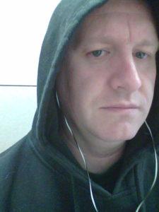 Me wearing a hoodie
