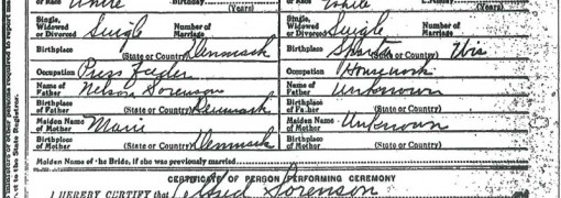Alfred Sorenson - Mae Gibbons marriage certificate