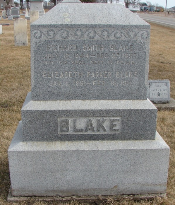 Headstone for Richard and Elizabeth Blake