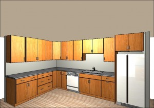 Kitchen mock-up, view 1