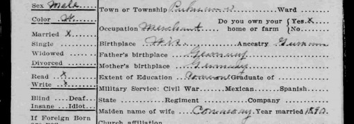 1915 South Dakota state census card for Frank Weiss