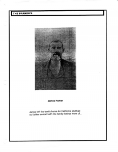 A page from a compiled genealogy of the Parkers