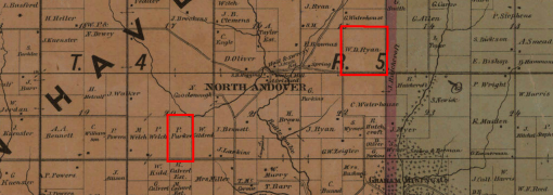 1868 map of Grant County, Wisconsin showing the Parker and Ryan farms highlighed
