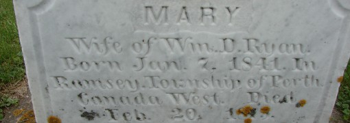 inscription on Mary Ryan's monument