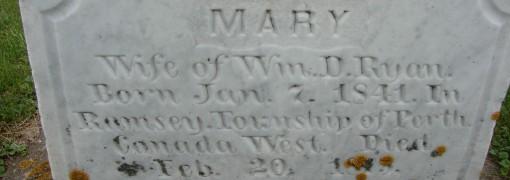 inscription on Mary Ryan's monument