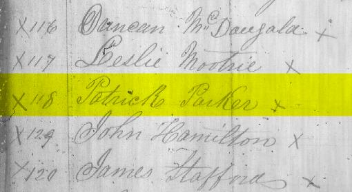 Blanshard Tax Roll 1856 - Patrick Parker
