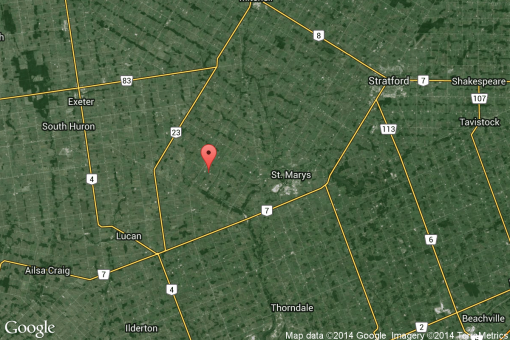 Location of Patrick Parker's farm in Blanshard on satellite