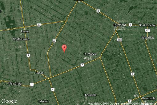 Location of Patrick Parker's farm in Blanshard on satellite