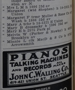 Margaret and Mary Parker in 1909 Seattle Directory