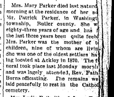 Mrs. Mary Parker died last Saturday