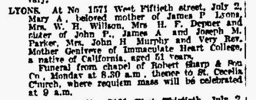 Mary A Lyons obituary
