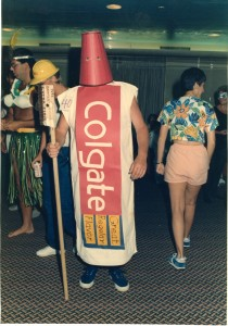 Colgate toothpaste costume in action