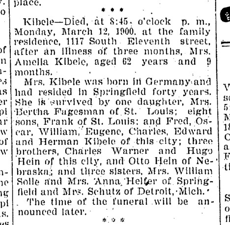 """The Mortuary Record"", Illinois State Journal, 13 Mar 1900, page 6, column 3"