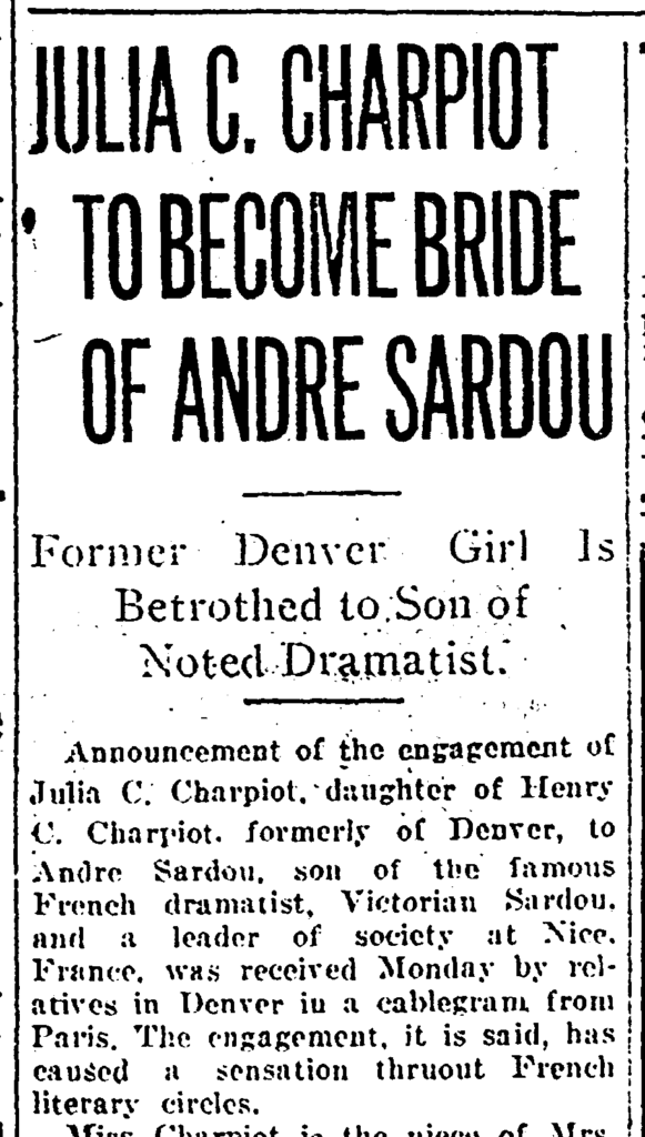 Denver Post - Julia Charpiot To Become Bride of Andre Sardou