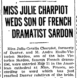 Denver Post - Julia Charpiot Weds Sardon