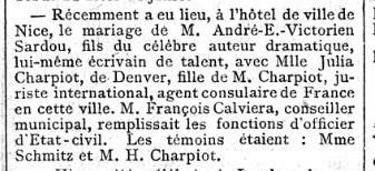 Le Figaro - le mariage de Andre Sardou