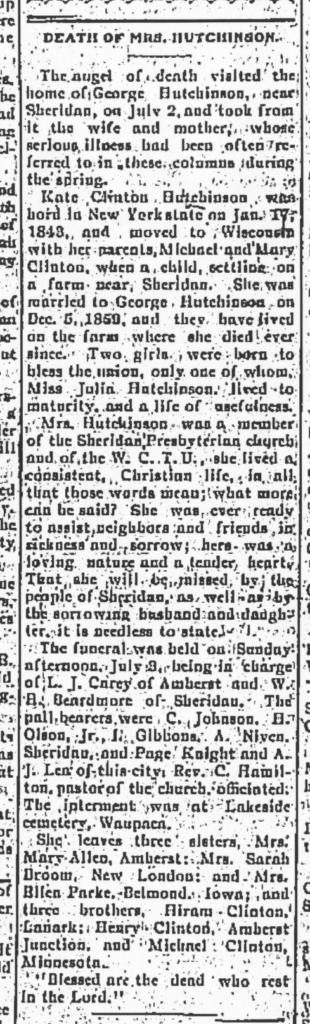 Death of Mrs. Hutchinson - Waupaca County Post