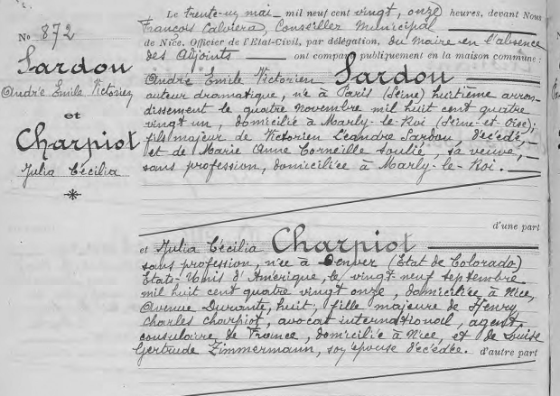 Civil marriage registration, Andre Sardou and Julia Charpiot