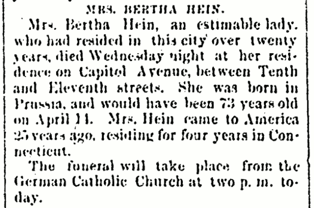 1880-03-12 - page 4 col 2 - Mrs. Bertha Hein