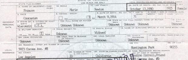 Frances Marie Newton death certificate