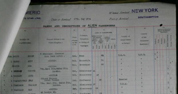 1924 Southampton passenger arrival manifest