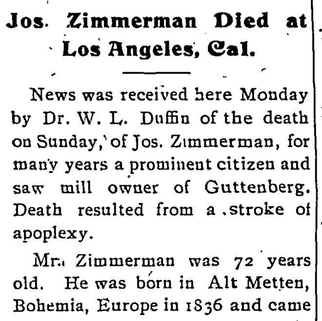 Obituary for Joseph Zimmerman from the Clayton County Journal