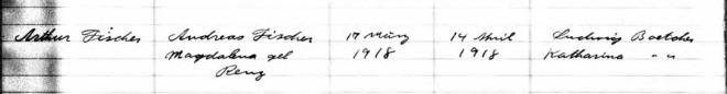 ELCA baptism record for Arthur Fischer