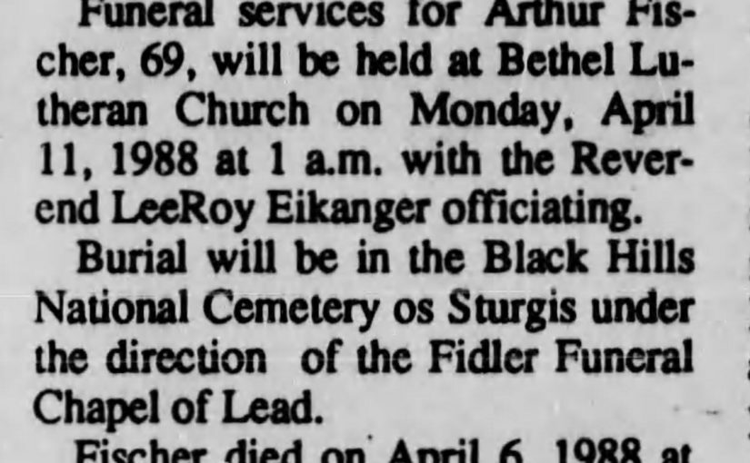 1988 obituary for the other Arthur Fischer