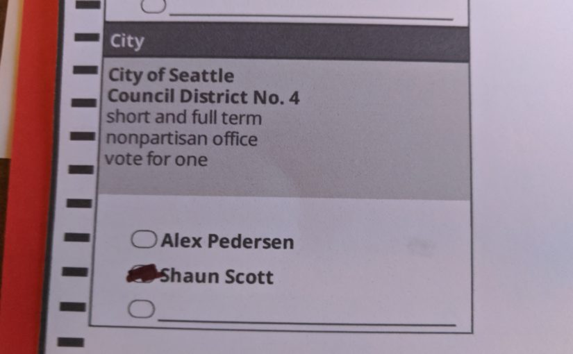 Ballot for Seattle City Council District 4 with the oval filled in for Shaun Scott